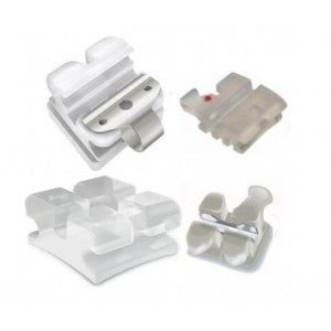 Ceramic Bracket (Tooth Color, Sapphire, Self-Ligating, Metal Slot)